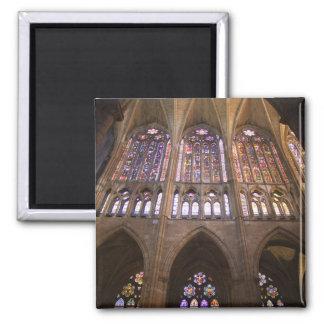 Catedral de León, vitrales interiores 2 Imán Cuadrado