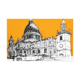 Catedral del St. Pauls, Londres. Cielo amarillo Lienzo