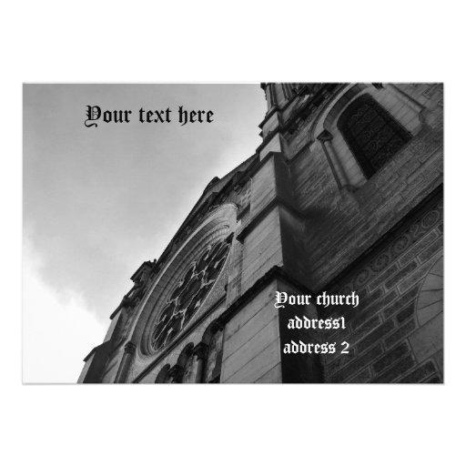Catedral gótica en blanco y negro comunicados personalizados