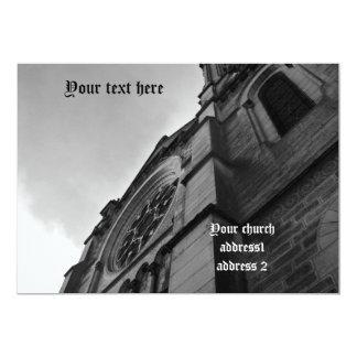 Catedral gótica en blanco y negro invitación 12,7 x 17,8 cm