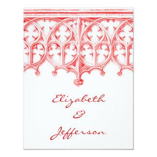 Catedral roja color de rosa que casa RSVP Invitación 10,8 X 13,9 Cm