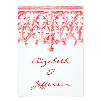 Catedral roja color de rosa que casa RSVP Invitación 12,7 X 17,8 Cm