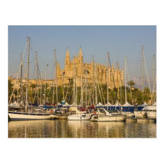 Catedral y puerto deportivo, Palma, Mallorca, Espa Postal