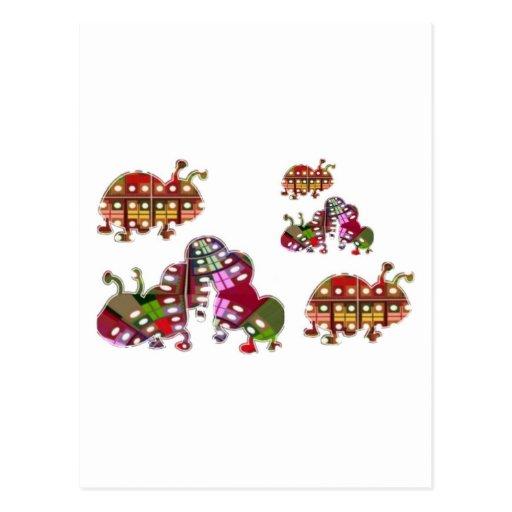 Caterpillar y señora Bug Graphic de la mariquita Postales