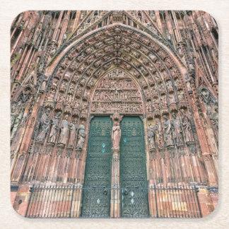 Cathedrale Notre-Dame, Estrasburgo, Francia Posavasos De Papel Cuadrado