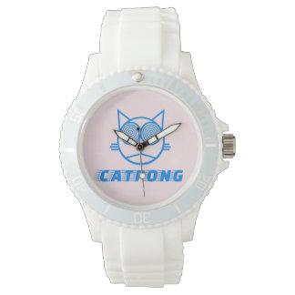 Catpong - rosa del polvo reloj de pulsera