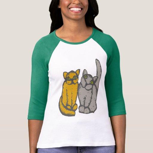 Cats couple. - pareja de gato -. - camiseta