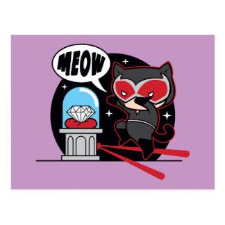 Catwoman de Chibi que roba un diamante Postal
