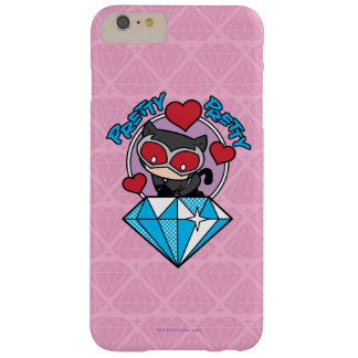 Catwoman de Chibi que se sienta encima de diamante Funda Barely There iPhone 6 Plus