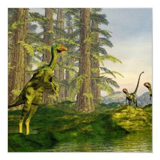 Caudipteryx y dinosaurios del dilong - 3D rinden Invitación 13,3 Cm X 13,3cm