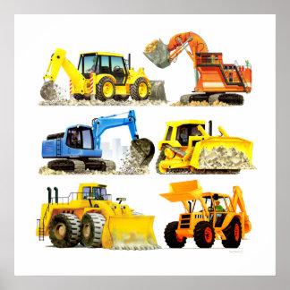 Cavador y excavador masivos de la construcción de póster