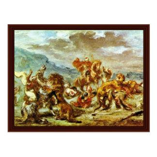 Caza del león del vencedor Delacroix de Eugène Postal