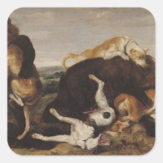 Caza del oso o batalla entre los perros y osos colcomanias cuadradas personalizadas