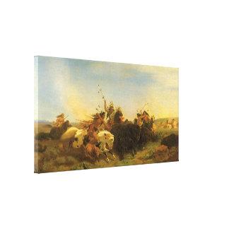 Caza por Wimar, arte del oeste americano del Lona Estirada Galerias