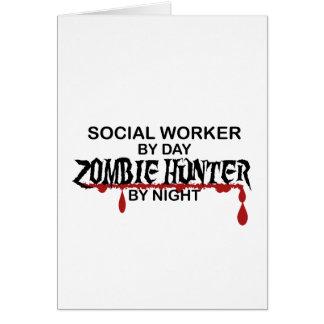 Cazador del zombi del asistente social tarjeta de felicitación