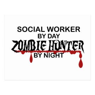 Cazador del zombi del asistente social postales