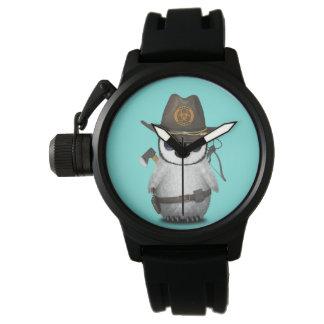 Cazador del zombi del pingüino del bebé reloj