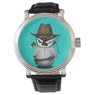 Cazador del zombi del pingüino del bebé reloj de pulsera