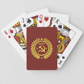 CCCP Hamer y naipes del póker del emblema de la
