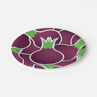 Cebollas púrpuras enrrolladas plato de papel