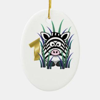 Cebra 1 de números y de animales adorno ovalado de cerámica