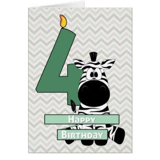Cebra adorable que se sienta para el cumpleaños tarjeta de felicitación