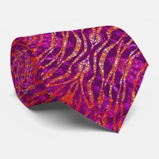 Cebra anaranjada rosada fluorescente Bling Corbatas Personalizadas