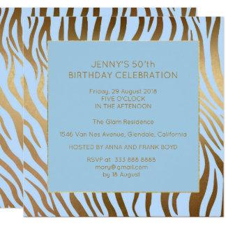 Cebra azul del oro de la fiesta de cumpleaños de invitación 13,3 cm x 13,3cm