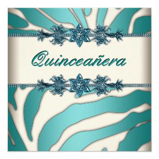 Cebra azul Quinceanera del trullo de marfil Invitación 13,3 Cm X 13,3cm