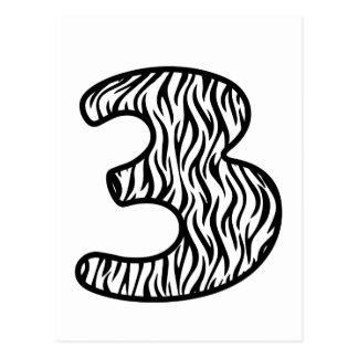 Cebra blanco y negro número 3 de la diversión TRES Postal