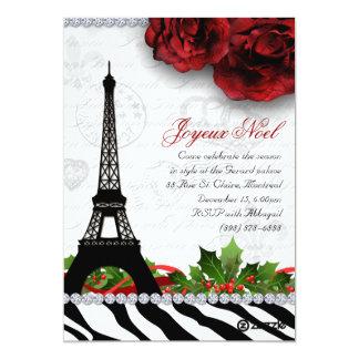 Cebra de la torre Eiffel de la tarjeta de París Invitación 12,7 X 17,8 Cm