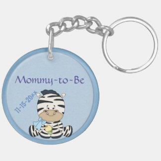 Cebra del bebé, mamá adaptable a ser y fiesta de llavero redondo acrílico a doble cara