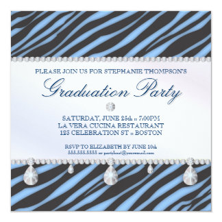 Cebra del chica del encanto y fiesta de graduación invitación 13,3 cm x 13,3cm