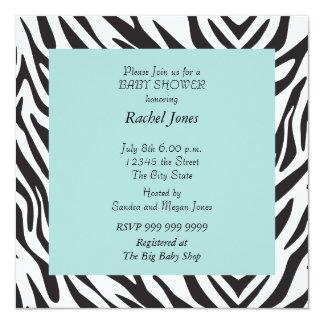 Cebra del fiesta de fiesta de bienvenida al bebé invitación 13,3 cm x 13,3cm