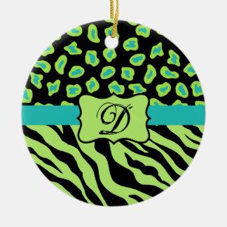 Cebra del negro, de la verde lima y de la turquesa adorno redondo de cerámica