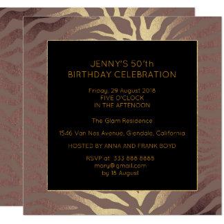 Cebra del oro del chocolate de la fiesta de invitación 13,3 cm x 13,3cm