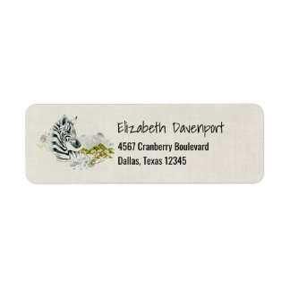 Cebra del safari con la acuarela verde del árbol etiqueta de remite