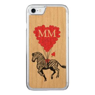 cebra del vintage y corazón del amor funda para iPhone 7 de carved