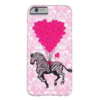 Cebra del vintage y globos rosados del corazón funda para iPhone 6 barely there