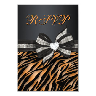 Cebra elegante RSVP con el arco Jeweled Invitación 8,9 X 12,7 Cm