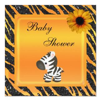 Cebra, fiesta de bienvenida al bebé del brillo del invitación 13,3 cm x 13,3cm