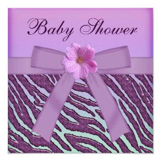 Cebra, fiesta de bienvenida al bebé púrpura de la invitación 13,3 cm x 13,3cm