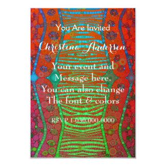 Cebra fluorescente de la turquesa anaranjada roja invitación 8,9 x 12,7 cm