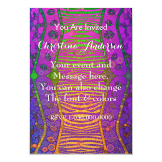 Cebra fluorescente verde anaranjada púrpura invitación 8,9 x 12,7 cm