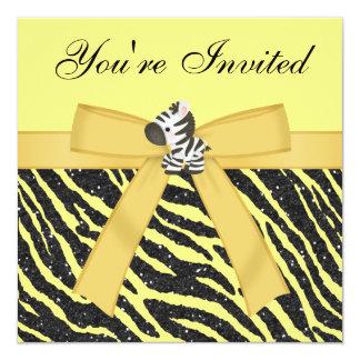 Cebra, girasoles y fiesta del brillo del estampado invitación 13,3 cm x 13,3cm