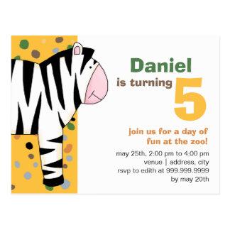 Cebra • Invitación del cumpleaños Tarjetas Postales