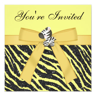 Cebra, joyas de la mariposa y brillo del estampado invitación 13,3 cm x 13,3cm