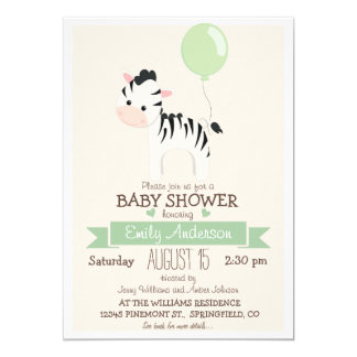 Cebra linda del bebé, fiesta de bienvenida al bebé invitación 12,7 x 17,8 cm
