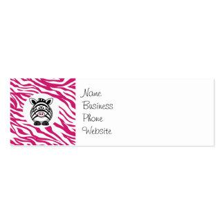 Cebra linda en los regalos rosados del parque tarjetas de visita mini