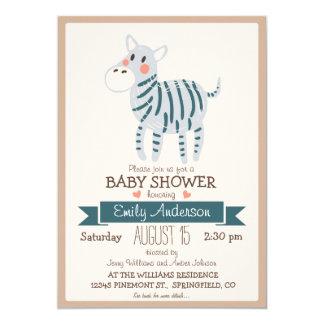 Cebra linda, fiesta de bienvenida al bebé del invitación 12,7 x 17,8 cm